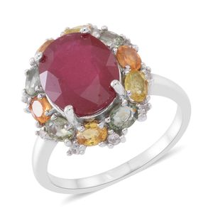 Niassa Ruby, Multi Sapphire, Cambodian Zircon Sterling Silver Ring (Size 10.0) TGW 9.10 cts.