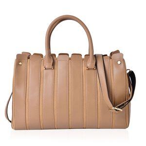 Light Camel Faux Leather Stripe Pattern Satchel Bag (14.2x5x9.2 in)