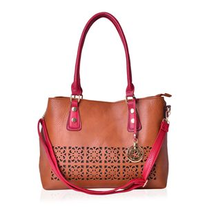 Red and Brown Faux Leather Laser Cut Tote Bag with Removeable Shoulder Strap (43 In) and Maple Leaf Key Charm (14.5x5.5x11 in)