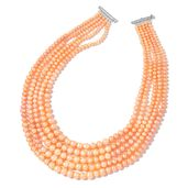 MEGA CLEARANCE Pearl Expression Freshwater Peach Pearl Sterling Silver Multi Strand Drape Necklace (17 in)