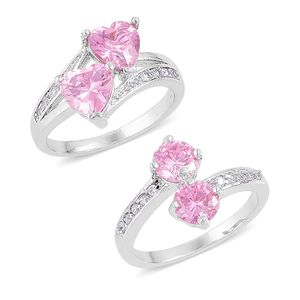 Set of 2 Simulated Pink Sapphire, Simulated Diamond Silvertone Rings (Size 7.75) TGW 3.60 cts.
