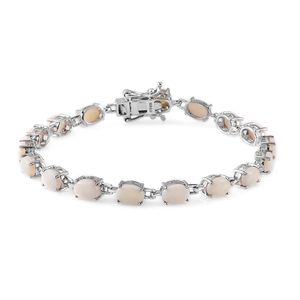 Australian White Opal Platinum Over Sterling Silver Bracelet (7.50 In) TGW 8.24 cts.