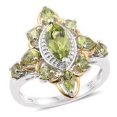 Hebei Peridot 14K YG and Platinum Over Sterling Silver Ring (Size 7.0) TGW 2.98 cts.