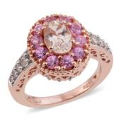 Marropino Morganite, Madagascar Pink Sapphire 14K RG Over Sterling Silver Ring (Size 10.0) TGW 1.76 cts.