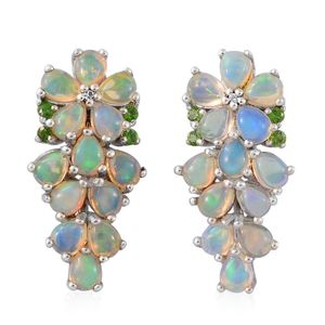 Ethiopian Welo Opal, Russian Diopside, Cambodian Zircon Platinum Over Sterling Silver Earrings TGW 3.05 cts.