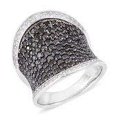 Thai Black Spinel, White Zircon Black Rhodium Over and Sterling Silver Ring (Size 7.0) TGW 4.30 cts.