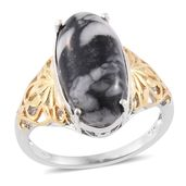 Austrian Pinolith 14K YG and Platinum Over Sterling Silver Ring (Size 7.0) TGW 9.80 cts.