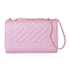 Pink Quilted Pattern Crossbody Bag (12.5x4.6x8.4 in)