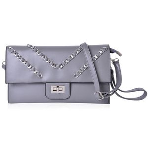 Gray Chevron Pattern Handbag with Removable Strap & Lock (11.3x7 in)