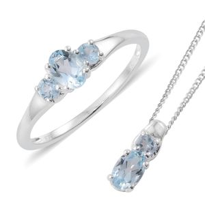 Sky Blue Topaz Platinum Over Sterling Silver Ring (Size 8) and Pendant With Chain (20 in) TGW 1.52 cts.
