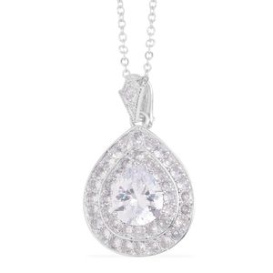 Simulated Diamond Silvertone Pendant With Chain (18 in) TGW 9.90 cts.