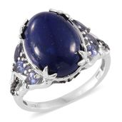 Lapis Lazuli, Catalina Iolite, Thai Black Spinel Platinum Over Sterling Silver Ring (Size 5.0) TGW 10.76 cts.