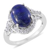 Lapis Lazuli, Cambodian Zircon Platinum Over Sterling Silver Ring (Size 9.0) TGW 7.21 cts.