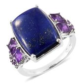 Lapis Lazuli, Amethyst Platinum Over Sterling Silver Ring (Size 10.0) TGW 19.00 cts.
