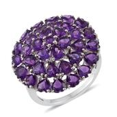 Amethyst Platinum Over Sterling Silver Heart Cluster Ring (Size 5.0) TGW 8.10 cts.