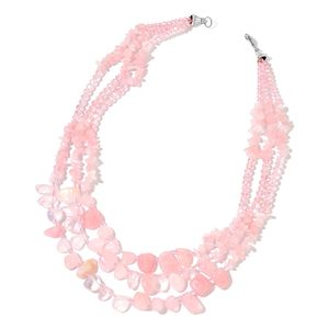 Galilea Rose Quartz, Pink Glass Chips Silvertone Necklace (19 in) TGW 504.50 cts.