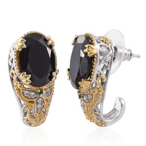 Thai Black Spinel, Russian Diopside, Cambodian Zircon 14K YG and Platinum Over Sterling Silver J-Hoop Earrings TGW 13.99 cts.