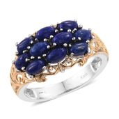 KARIS Collection - Lapis Lazuli ION Plated 18K YG and Platinum Bond Brass Ring (Size 8.0) TGW 3.35 cts.