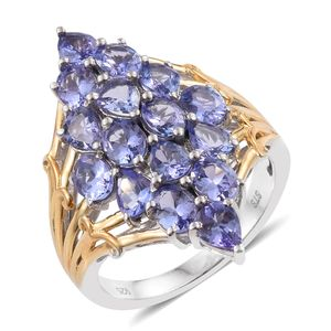 Tanzanite 14K YG and Platinum Over Sterling Silver Elongated Cluster Ring (Size 7.0) TGW 5.34 cts.
