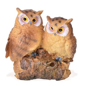 Resin Owl Couple Decoration (Battery Not Included)