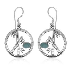 Bali Legacy Collection Larimar Sterling Silver Bamboo Earrings TGW 1.68 cts.