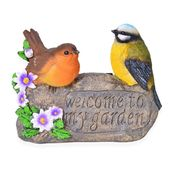 Yellow and Orange Resin Bird Couple Decoration (AAA Battery Not Included)
