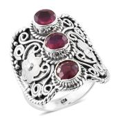 Artisan Crafted Niassa Ruby Sterling Silver Engraved Cuff Ring (Size 8.0) TGW 3.72 cts.