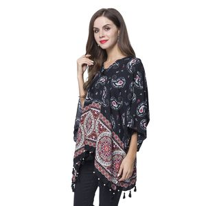 Black 100% Viscose V-Neck Paisley Mandala Paint Poncho with Wooden Tassel (Free Size)