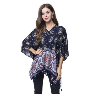 Navy Blue 100% Viscose V-Neck Paisley Mandala Paint Poncho with Wooden Tassel (Free Size)