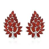 Crimson Fire Opal Platinum Over Sterling Silver Earrings TGW 2.71 cts.