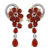 Crimson Fire Opal, Cambodian Zircon 14K YG and Platinum Over Sterling Silver Earrings TGW 2.70 cts.