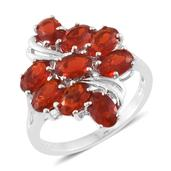 Crimson Fire Opal Platinum Over Sterling Silver Ring (Size 7.0) TGW 2.45 cts.