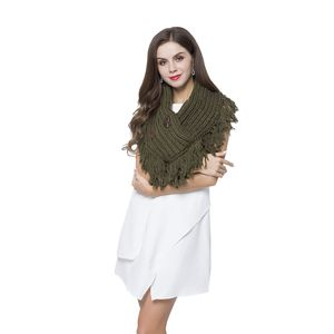 Seaweed Green 100% Acrylic V-Shape Button Design Infinity Scarf with Fringes (40x10)