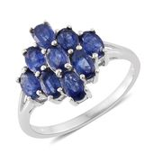 Masoala Sapphire Platinum Over Sterling Silver Ring (Size 5.0) TGW 3.28 cts.