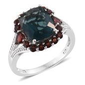 Belgian Teal Fluorite, Mozambique Garnet Platinum Over Sterling Silver Split Ring (Size 6.0) TGW 7.76 cts.