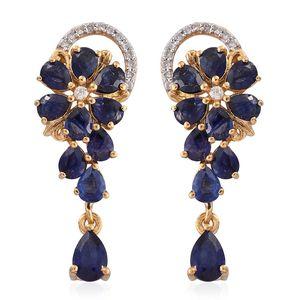 Masoala Sapphire, Cambodian Zircon 14K YG Over Sterling Silver Floral Drop Earrings TGW 6.01 cts.