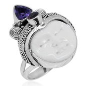 Bali Goddess Collection Carved Bone, Amethyst, Orissa Rhodolite Garnet Sterling Silver Ring (Size 7.0) TGW 1.04 cts.