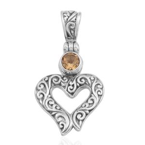 Bali Legacy Collection Brazilian Citrine Sterling Silver Heart Pendant without Chain TGW 0.43 cts.