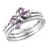 Set of 3 Rose De France Amethyst Stainless Steel Butterfly Stackable Rings (Size 7.0) TGW 0.68 cts.