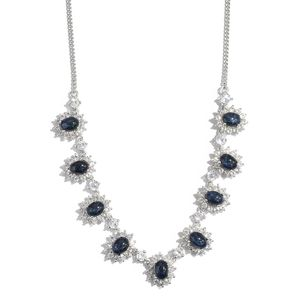 Thai Blue Star Sapphire, White Topaz Platinum Over Sterling Silver Necklace With Chain (18 in) TGW 18.54 cts.