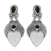 Bali Goddess Collection Carved Bone, Russian Diopside, Niassa Ruby Sterling Silver Earrings TGW 2.33 cts.