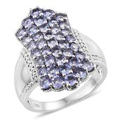 Tanzanite Platinum Over Sterling Silver Cluster Ring (Size 10.0) TGW 3.10 cts.