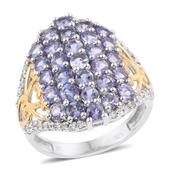 Tanzanite, Cambodian Zircon 14K YG and Platinum Over Sterling Silver Openwork Cluster Ring (Size 7.0) TGW 4.20 cts.