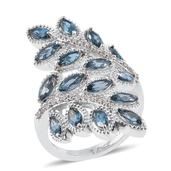 London Blue Topaz, Cambodian Zircon Platinum Over Sterling Silver Ring (Size 6.0) TGW 5.28 cts.