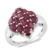 Niassa Ruby (FF) Platinum Over Sterling Silver Dome Pattern Ring (Size 7.0) TGW 5.00 cts.