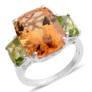 Web Exclusive Doorbuster Brazilian Citrine, Hebei Peridot Sterling Silver Ring (Size 7.0) TGW 12.91 cts.