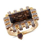 GP Brazilian Smoky Quartz, Multi Gemstone 14K YG Over Sterling Silver Ring (Size 10.0) TGW 6.59 cts.