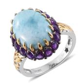 GP Larimar, Lusaka Amethyst 14K YG and Platinum Over Sterling Silver Ring (Size 10.0) TGW 12.96 cts.