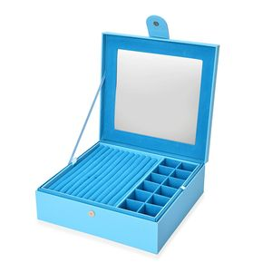 Blue Faux Leather 2 Tier Jewelry Box (11.4x11x3.7 in)