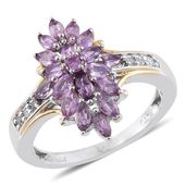 Mauve Sapphire, Diamond Accent 14K YG and Platinum Over Sterling Silver Ring (Size 5.0) TDiaWt 0.08 cts, TGW 1.79 cts.